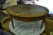 Sale 8499 - Lot 1359 - Round Timber Coffee Table with Glass & Rattan Top