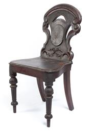 Sale 8530A - Lot 344 - A sturdy colonial Australian cedar hall chair with original patina, H of back 88cm