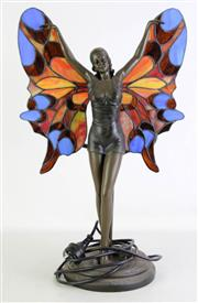 Sale 8931B - Lot 601 - leadlight lamp in the form of a butterfly girl (height - 52.5cm)