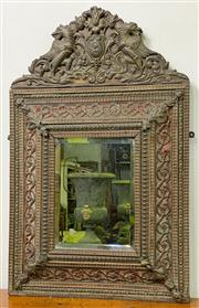 Sale 8972H - Lot 91 - An Antique Repousse brass French mirror c 1880 Ex Graham Geddes  Height 95cm x Width 60cm