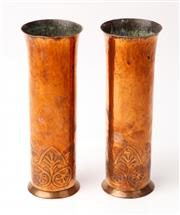Sale 9048A - Lot 22 - A pair of Keswick School of Industrial Arts copper trumpet form vases with palmette embossed decoration to base, Height 28cm