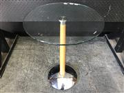 Sale 9043 - Lot 1021 - Contemporary Side Table with Tempered Glass Top and Chrome Base (H:63 D:43cm)