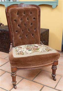 Sale 9120H - Lot 228 - A tapestry covered button back walnut occasional chair on castors, Height of back 94cm