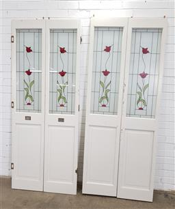 Sale 9151 - Lot 1420 - Set of 4 coloured glass doors depicting roses (h205 x w40cm)