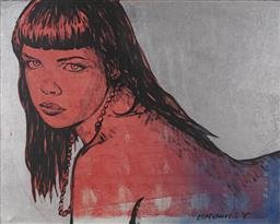 Sale 9161 - Lot 559 - DAVID BROMLEY (1960 - ) Simone acrylic and silver leaf on canvas 123 x 153 cm signed lower right