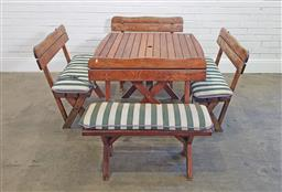 Sale 9174 - Lot 1399 - Timber outdoor table and 4 benches (h:72 x w:97 x d:99cm)
