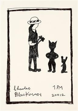 Sale 9248H - Lot 134 - CHARLES BLACKMAN (1928 - 2018) Original Ink on Artist Paper / Card Title and Dated: Schoolgirl with Cat and Rabbit, 2012 (20012)...