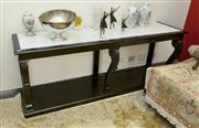 Sale 8205 - Lot 59 - An ebonised and marble rectangular console table with carved acanthus front legs, H 80 x W 200 x D 53cm
