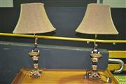 Sale 8227 - Lot 1002 - Pair of Figural Based Table Lamps