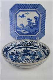 Sale 8381 - Lot 74 - Blue & White Charger with a Rectangular Example