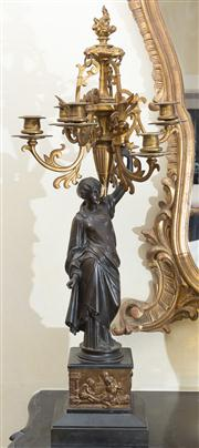 Sale 8470H - Lot 81 - A pair of Victorian bronze and gilt brass eclectic candelabra, each with six branches held aloft by a classical lady, the pedestal w...