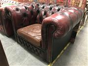 Sale 8805 - Lot 1093 - Pair of Burgundy Leather Chesterfield Armchairs