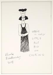 Sale 9021 - Lot 525 - Charles Blackman (1918 - 2018) - Abbie is only little but big on cooking , 2008 42 x 30 cm