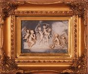 Sale 9081 - Lot 74 - Gilt Framed Cherubic relief with glass cover (Frame Size 25cm x 30cm)