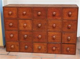 Sale 9120H - Lot 229 - A vintage twenty drawer apothecary cabinet, Height 61cm x Width 91cm x Depth 28cm