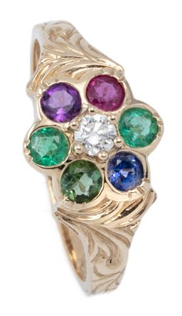 Sale 9168J - Lot 353 - A GEMSET DAISY CLUSTER DEAREST RING; centring a round brilliant cut diamond surrounded by an emerald, amethyst, ruby, blue sapphire...