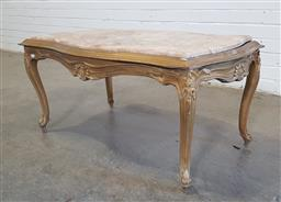 Sale 9154 - Lot 1057A - Gilt timber coffee table with marble top (h49 x w103 x d62cm)