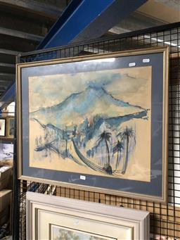 Sale 9176 - Lot 2102 - Chinese School (Hiang, 1969) Landscape, pastel and water colour, Frame: 58 x 71 cm, signed and dated lower right. -