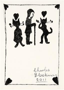 Sale 9248H - Lot 45 - CHARLES BLACKMAN (1928 - 2018) - Girl with a Walking Stick and Two Cats, 2011 original ink on artist paper