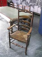 Sale 7919A - Lot 1755 - Set of 6 Antique Oak & Beech Ladder Back Chairs with Rushed Seats incl 2 Armchairs