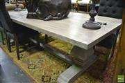 Sale 8361 - Lot 1017 - Lime Wash Pedestal Dining Table
