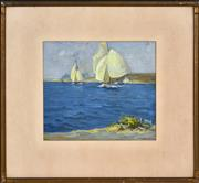Sale 8382 - Lot 590 - Thomas Friedensen (1879 - 1931) (3 works) - Sailing; Cove Landscape; Country Scene with Windmill 22.5 x 26cm; 24.5 x 33cm; 20 x 25.5...