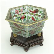 Sale 8393B - Lot 22 - Plique a Jour Hexagonal Bowl on a Stand