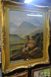 Sale 8537 - Lot 2024 - Continental School - Highland Scene with Rams 116 x 95.5cm (frame size)