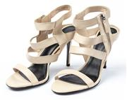 Sale 9027F - Lot 6 - A pair of beige Charles and Keith open toe strappy stiletto shoes, size 39.