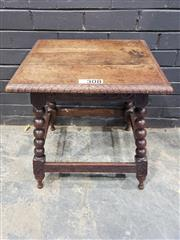 Sale 9014 - Lot 1067 - Edwardian Oak Occasional Table, the square top with carved edge, on bobbin turned legs with stretchers