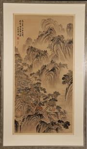 Sale 9044 - Lot 88 - Chinese School Mountainscape ink and wash on silk, 157 x 94cm (frame)