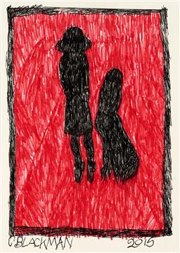 Sale 9248H - Lot 124 - CHARLES BLACKMAN (1928 - 2018) Original Ink on Artist Paper / Card Title and Dated: Schoolgirl and a Dog, 2015 Hand Signed: Lo...