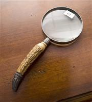 Sale 8205 - Lot 61 - An antler and silver plate mounted magnifying glass