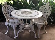 Sale 8430 - Lot 5 - A three piece Victorian style cast alloy outdoor setting