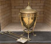 Sale 8470H - Lot 88 - A neo classical style brass coal scuttle with cover on tapering supports with paw feet, together with a set of fire tools, H of scut...