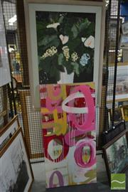 Sale 8522 - Lot 2088 - (2 works) Artist Unknown Abstract (Pink), acrylic on canvas, 61 x 122cm, unsigned; Artist Unknown Still Life oil on canvas (AF)...