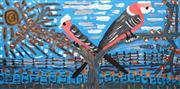 Sale 8576A - Lot 5017 - Trevor (Turbo) Brown (1967 - 2017) - Galahs Hang Out in the Bush 152 x 76cm (framed & ready to hang)