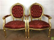 Sale 8649R - Lot 191 - Ornately Carved Gilded Timber Medallion Backed Armchairs Upholstered in Red (H: 102cm)