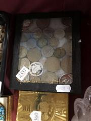 Sale 8759 - Lot 2357 - Glasstop Box of Tokens