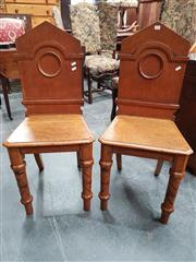 Sale 8848 - Lot 1025 - Pair of Victorian Oak Hall Chairs, with pointed backs, and spiral twist legs