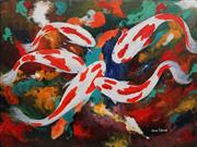 Sale 8906 - Lot 2042 - Greg Lipman (1938 - ) White & Red Koi acrylic on canvas, 92 x 122 cm, signed -