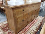 Sale 8951 - Lot 1056 - Parquetry Elm Sideboard with Three Drawers & Six Doors (H:90 x W:200 x D:45cm)