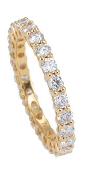 Sale 8928 - Lot 384 - AN 18CT GOLD DIAMOND ETERNITY RING; full hoop bead claw set with 24 round brilliant cut diamonds totalling approx. 1.30ct SI-P1, siz...