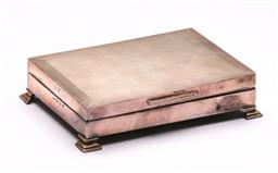 Sale 9122 - Lot 3 - Hallmarked Sterling Silver Cigarette Box with Timber Lining (W13.5cm), Birmingham c1962 by Turner & Simpson Ltd