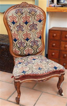 Sale 9120H - Lot 231 - A fruitwood tapestry upholstered occasional chair on porcelain casters, Height of back 100cm,  losses to back and tapestry