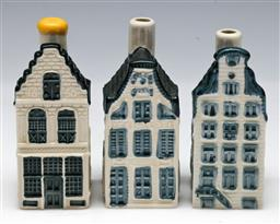 Sale 9144 - Lot 414 - Set of three KLM houses - 2 missing stoppers (H:10cm)
