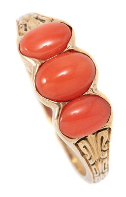 Sale 9160 - Lot 364 - A VICTORIAN STYLE CORAL RING; set with 3 cabochon oval corals to engraved shoulders in 9ct gold, size O, width 7mm, wt. 3.08g.