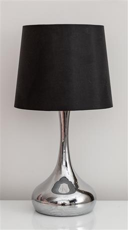 Sale 9160H - Lot 244 - A pair of mirrored bulbous bedside lamps with black shades, Height 55cm