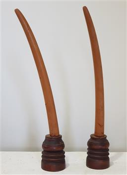 Sale 9183 - Lot 1002 - Pair of faux timber mounted tusks (h:90cm)