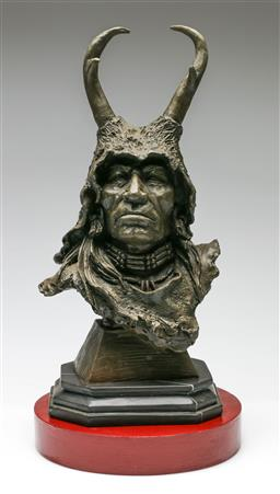 Sale 9209V - Lot 26 - A bronze native American figure on stand, signed Milo (total height 47cm)